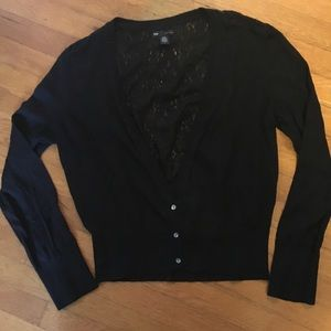 Accented lace back cardigan